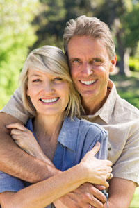 Older couple with healthy attractive smiles